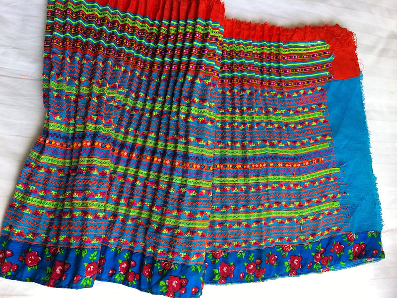 Hmong fabric skirt - home decor piece - Pallu Design