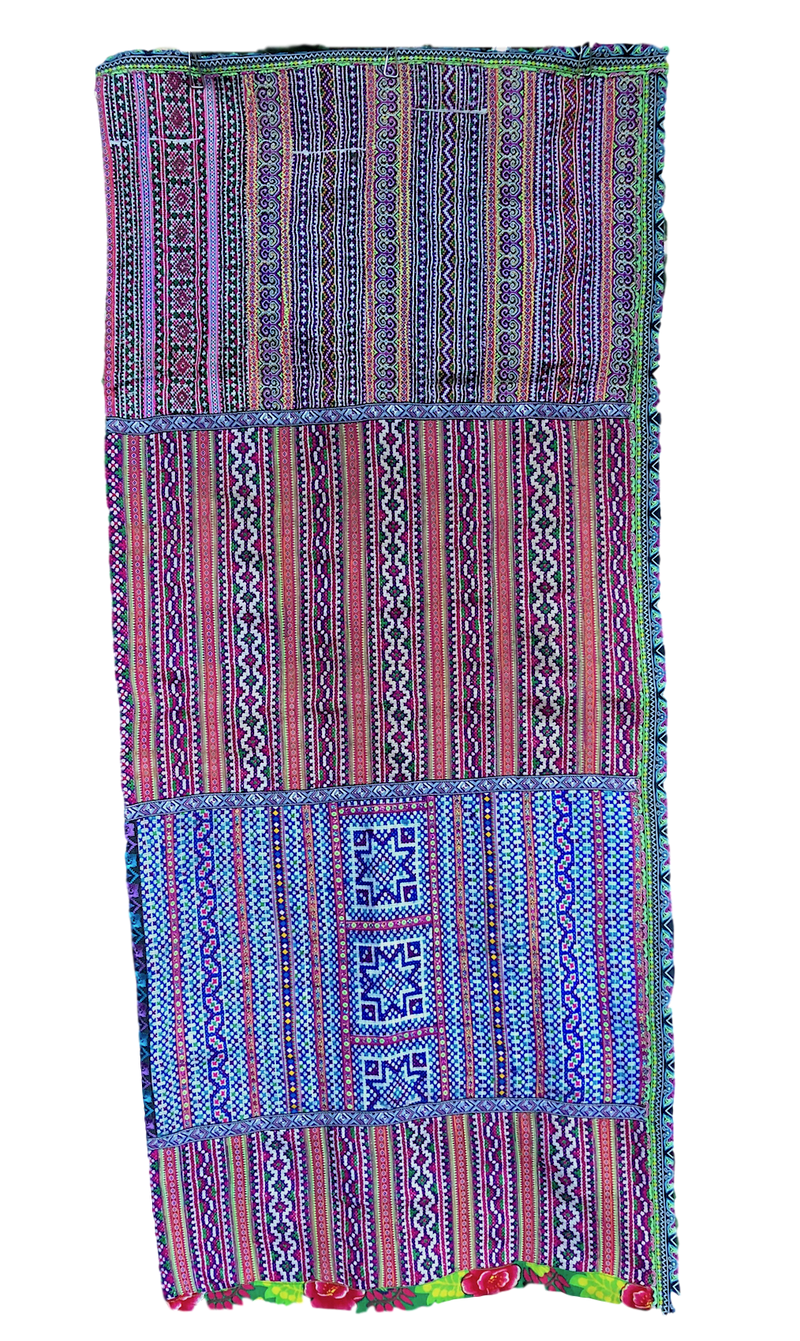 Hmong Fabric Table Runner - Embroidery and Braids - Pallu Design