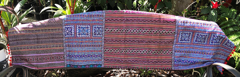 Embroidered Table Runner - Hmong Fabrics and Braid - Pallu Design