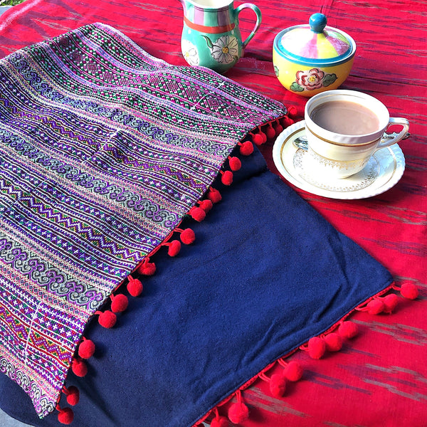 Hmong Fabric Bed or Table Runner - Embroidery and Braids - Pallu Design