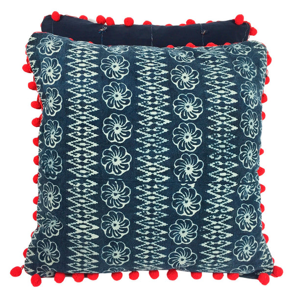 Batik Indigo Pillow with Pom Poms - Flowers - Pallu Design