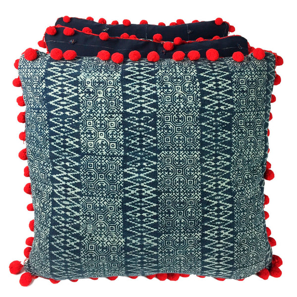 Batik Indigo Cushion with Pom Poms - Zig Zag - Pallu Design