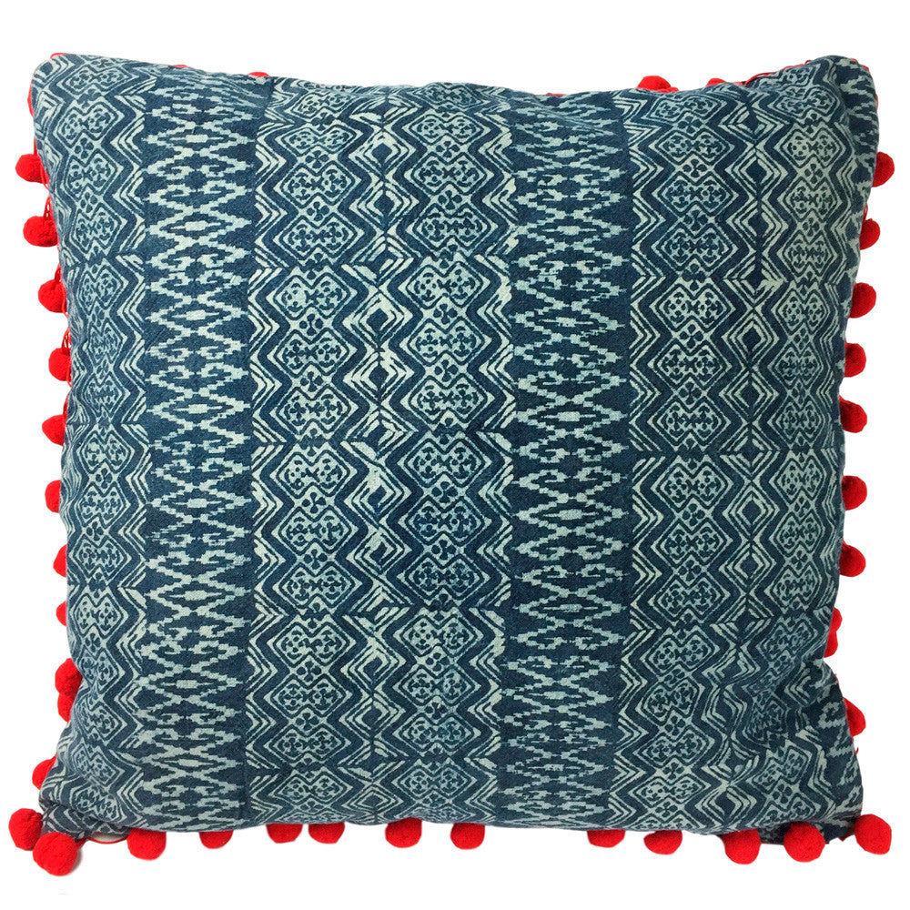 Batik Indigo Pillow with Pom Poms - Diamond - Pallu Design