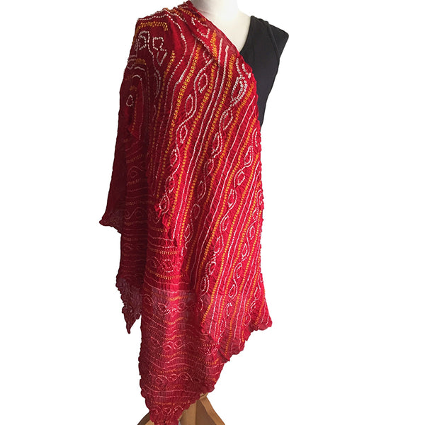 Bandhani Wrap in Silk Crepe - Red, White and Gold - Pallu Design