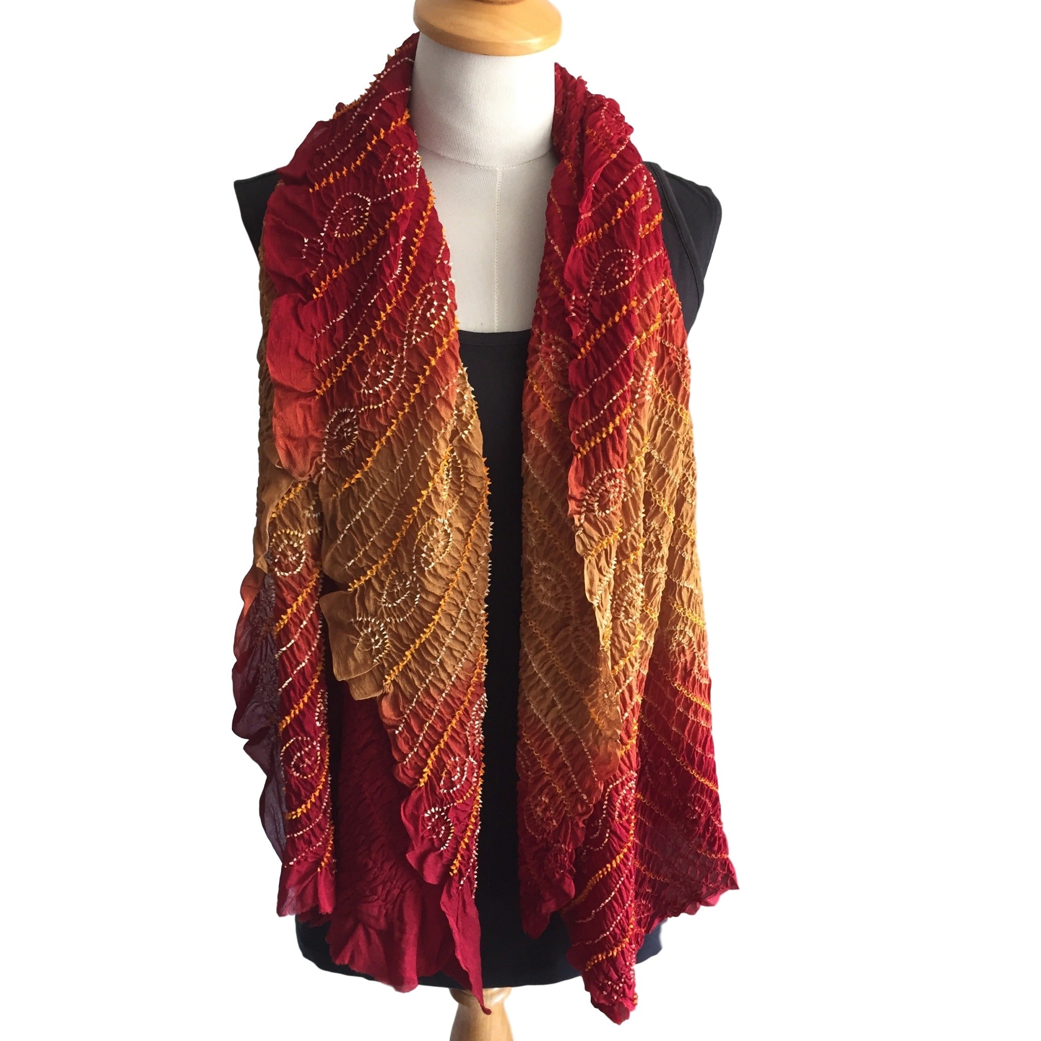 Bandhani Scarf in Silk Crepe - Earthy tones of Red and Mocha - Pallu Design