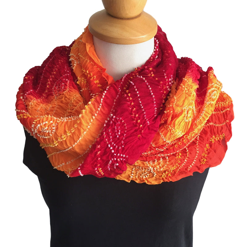 Bandhani Scarf in Silk Crepe - Red and Gold - Exotic brilliance! - Pallu Design