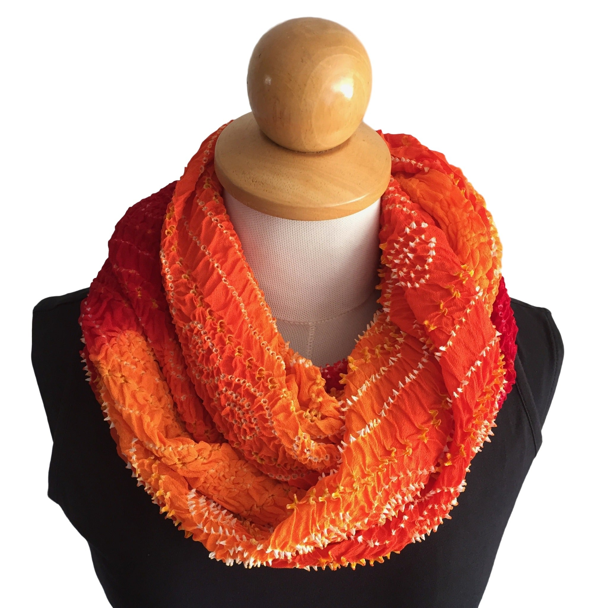 Silk Crepe Bandhani Scarf in Red, Orange and Gold - Pallu Design