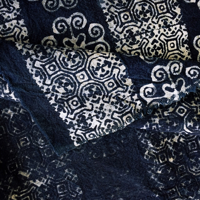 Hmong Indigo Batik Cotton Fabric with Scroll Motif - Pallu Design