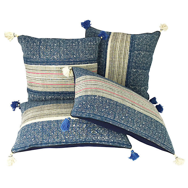 Hmong Indigo Batik & Hemp Cushion - Oblong with Tassels - Pallu Design