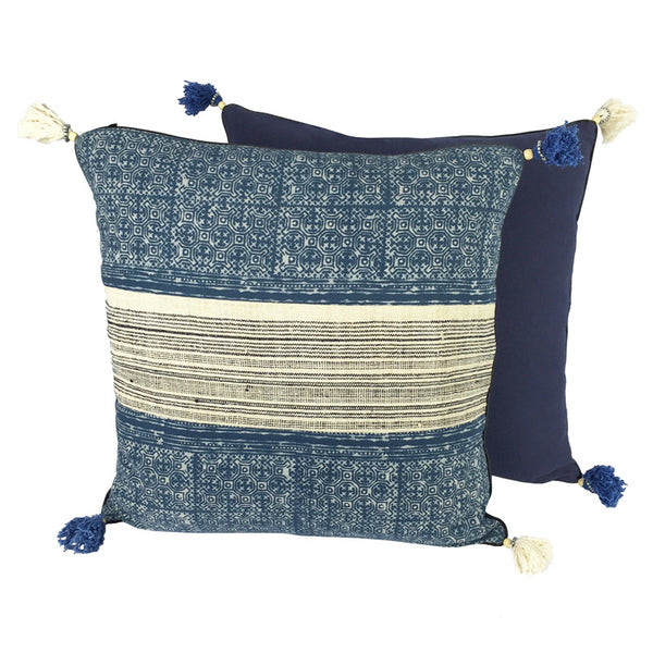 Hmong Indigo Batik & Hemp Cushion - Square with Tassels - Pallu Design