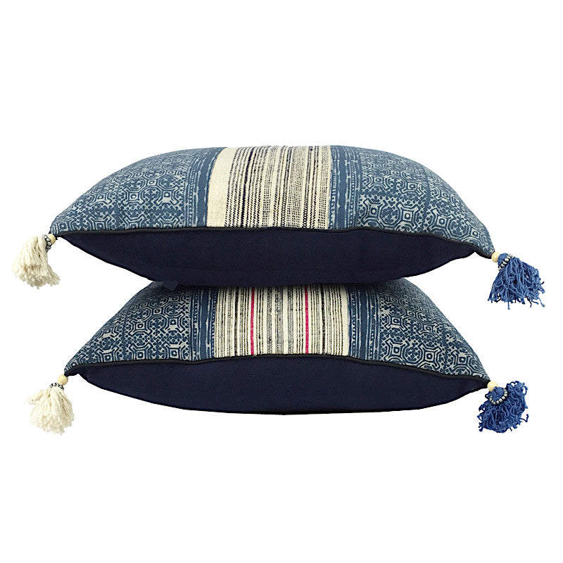 Hill Tribe Indigo Batik & Hemp Cushion - Square with Tassels - Pallu Design