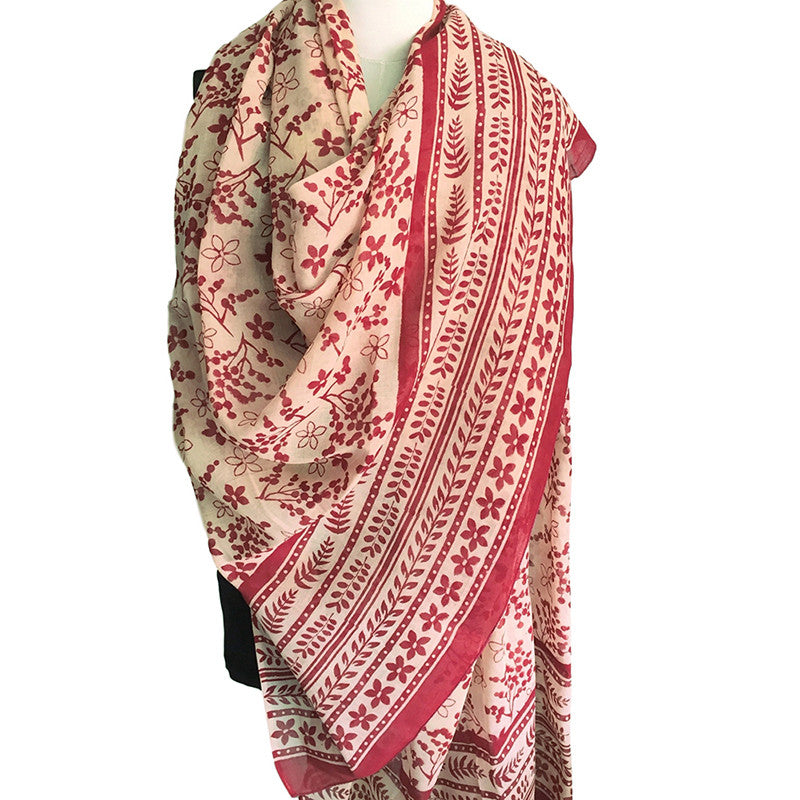Indian scarf - block printed in Bagru in original design - Pallu Design