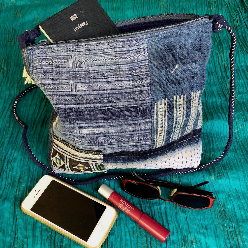Boro stitched indigo hemp bag - Pallu Design