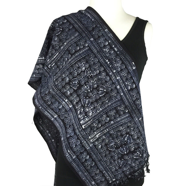 Hmong Batik Indigo Scarf with Fringe - Long - Pallu Design