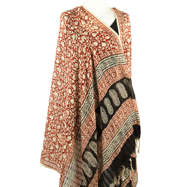 Block Print Beach Sarong or Cotton Scarf - Earthy Floral - Pallu Design