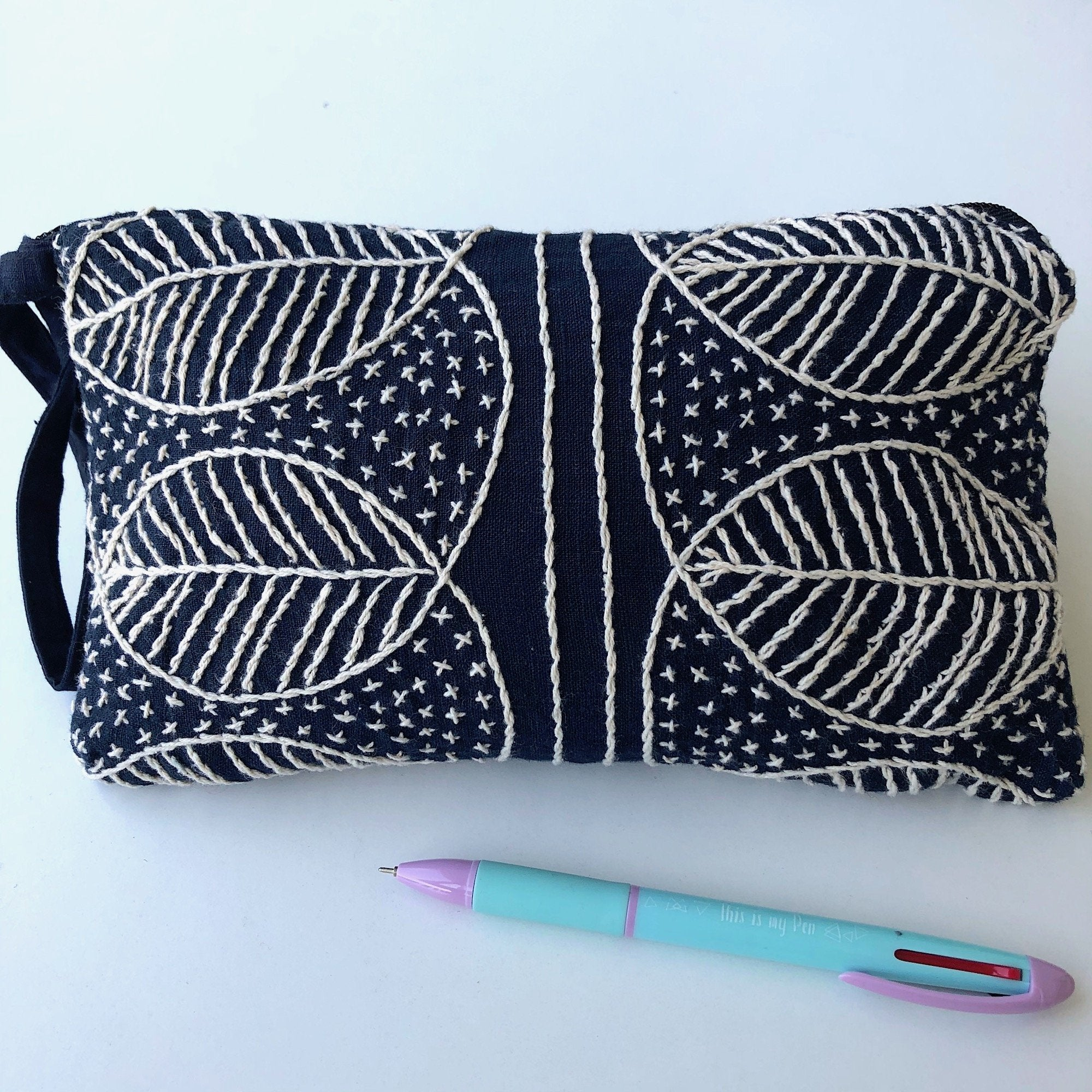 Small Indigo embroidered Clutch Bag - Hmong fabric wristlet - Pallu Design
