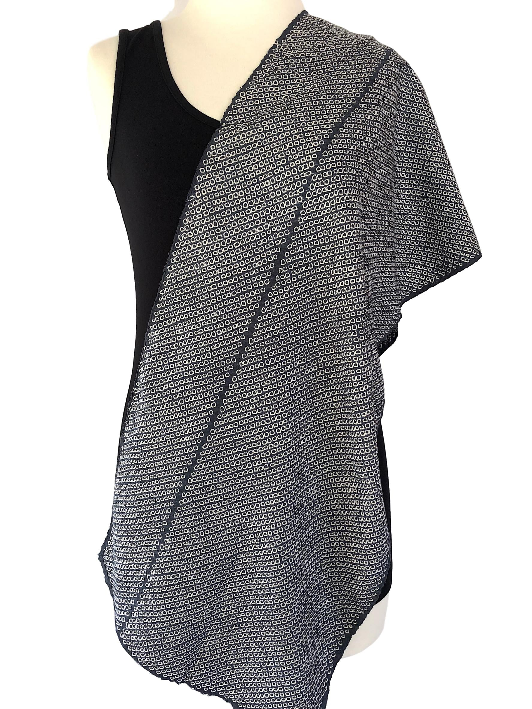 Dove Grey silk shibori scarf - Pallu Design