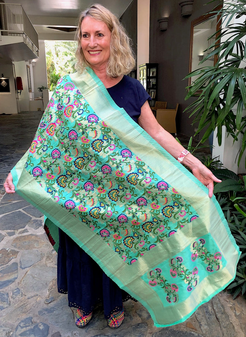 Embroidered Long Silk Scarf in Mint Green