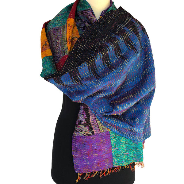 Patchwork Silk Kantha Scarf or Evening Wrap - Pallu Design