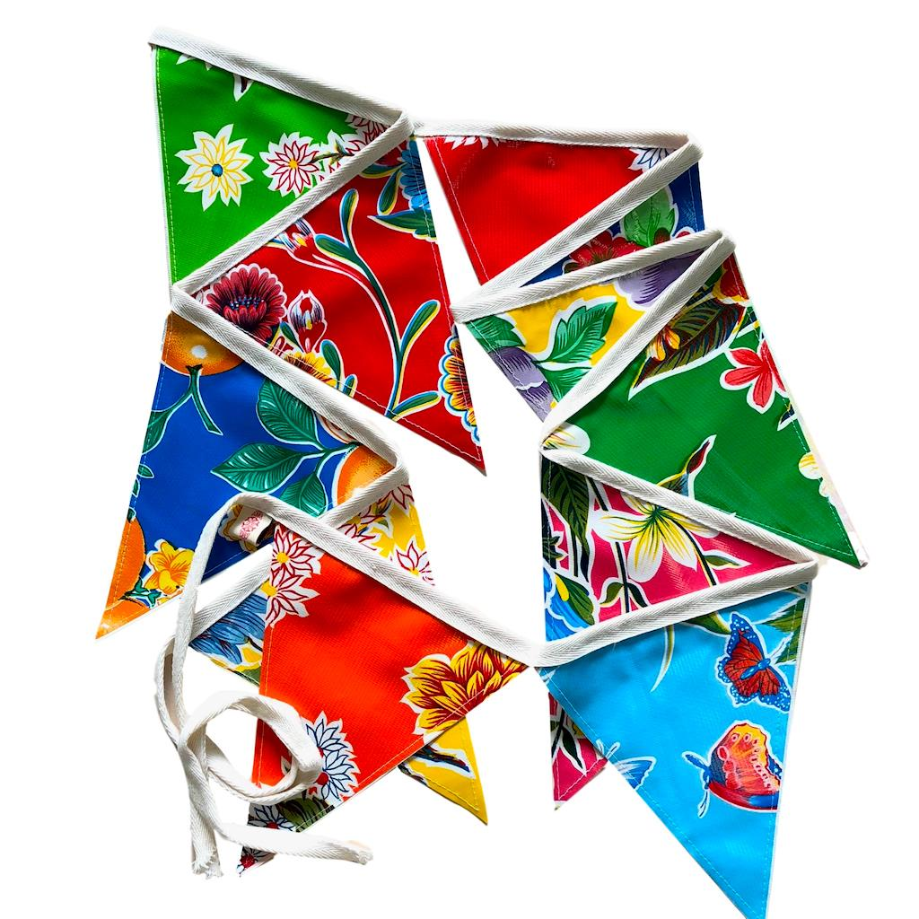 3 mt Mexican Oilcloth Bunting for your Celebrations - Pallu Design