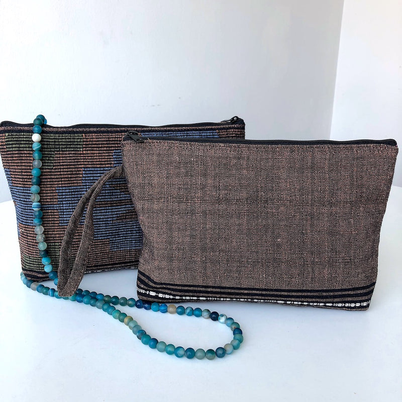 Clutch Bag in Hand Woven Thai Fabric - Traditional Design - Pallu Design
