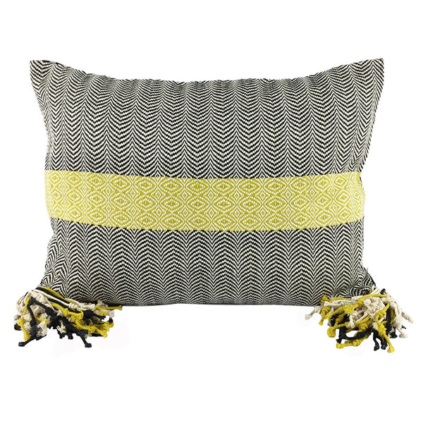 Oblong Hand Woven Cushion -  Black, Cream and Lime with Tassels - Pallu Design