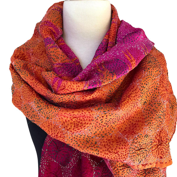 Reversible Silk Sari Scarf or Wrap - Orange, pink, red - Pallu Design
