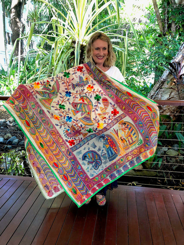 Hand Embroidered Shawl - Vivid Village Designs