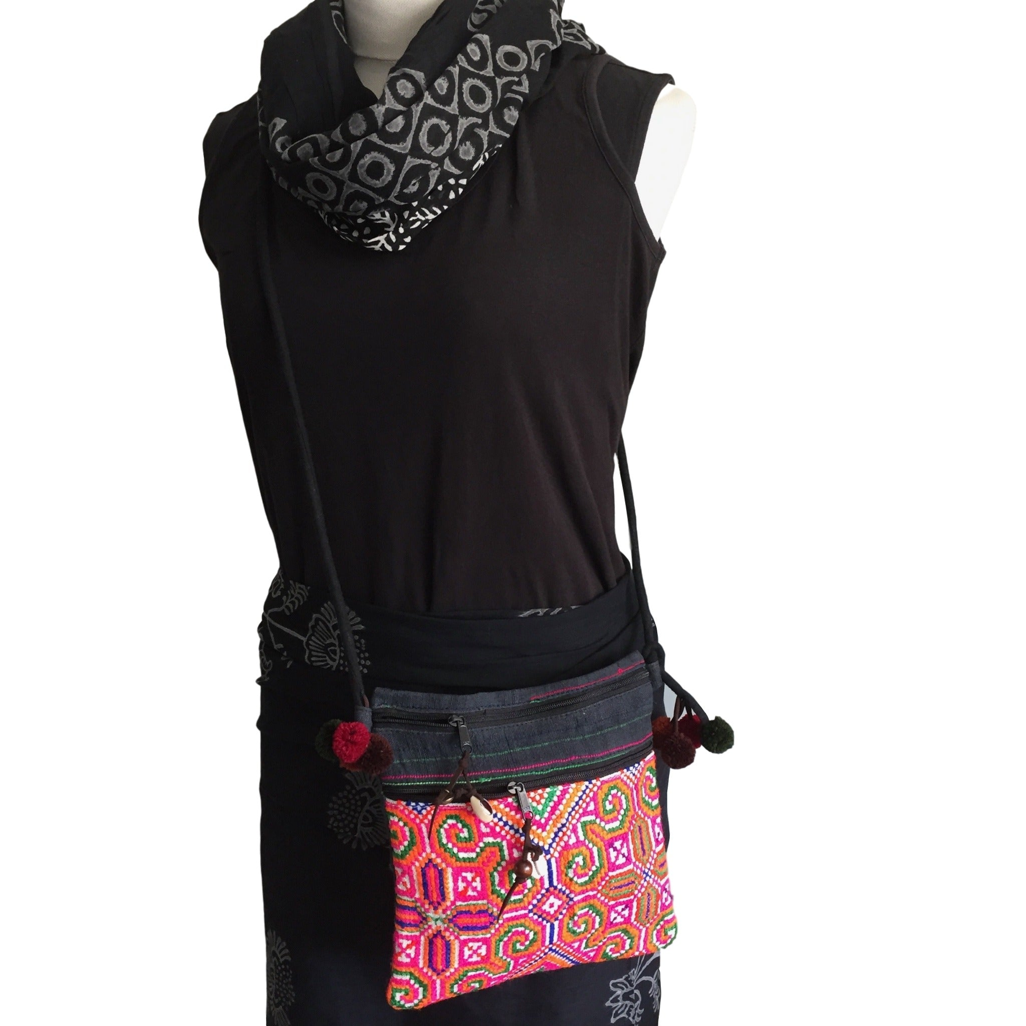 Embroidered Cross body bag - Hmong hemp - Pallu Design