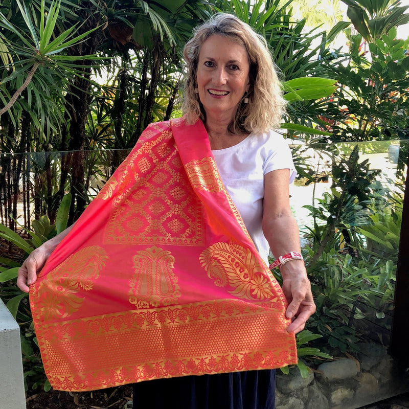 Silk Brocade Shawl - orange, gold and pink