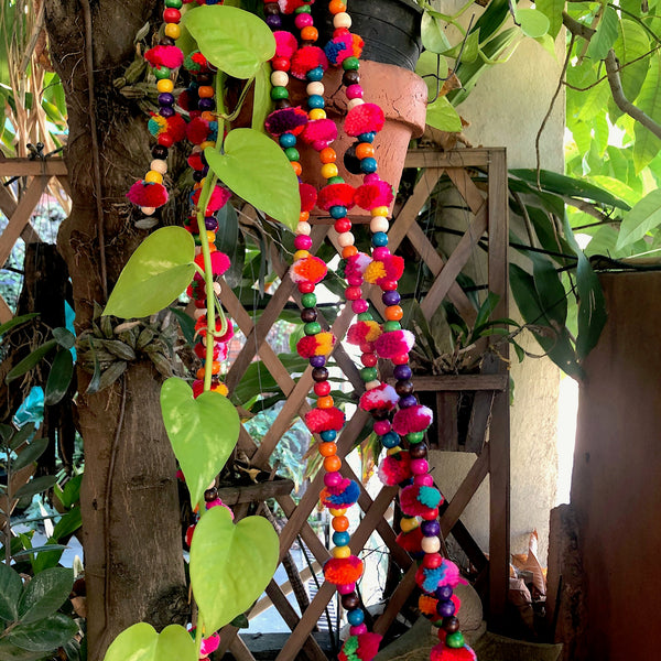 Pom Pom and Wooden Bead Garlands - Garden Decor 1.9mt - Pallu Design