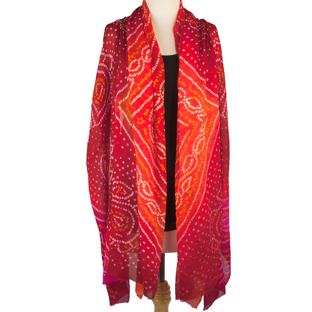 Silk Bandhani Scarf or shawl- Fiery Red - Pallu Design