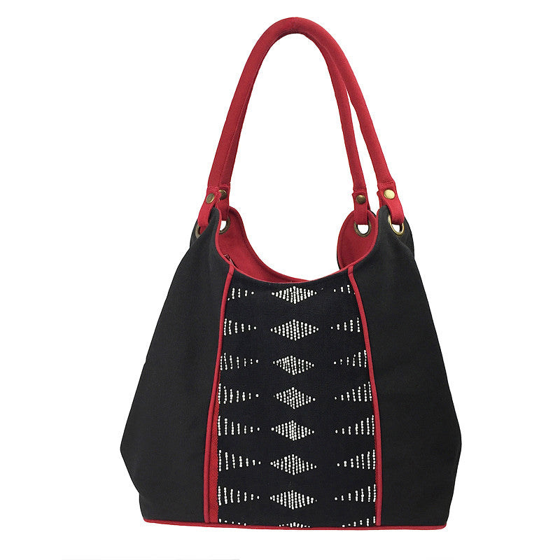 Beaded Bag - Black and Red Hand Woven - Pallu Design