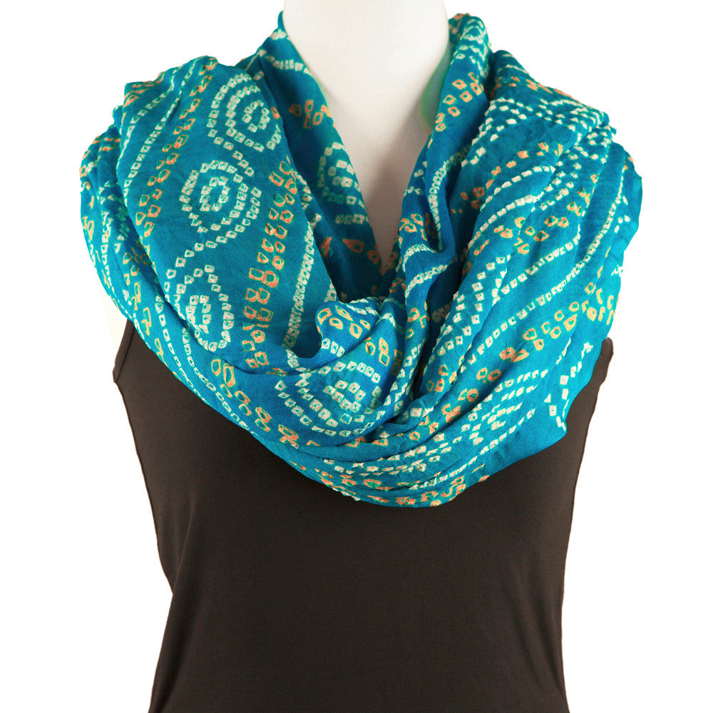 Silk Bandhani Scarf - Aqua, White and Gold - Pallu Design