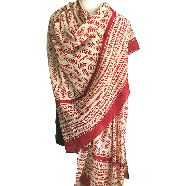 Cotton scarf block printed in original tropical fern design - Pallu Design