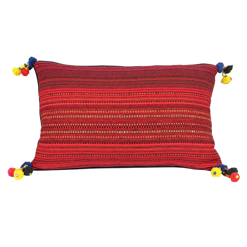 Red Woven Cotton Pom Pom Cushion - Oblong - Pallu Design