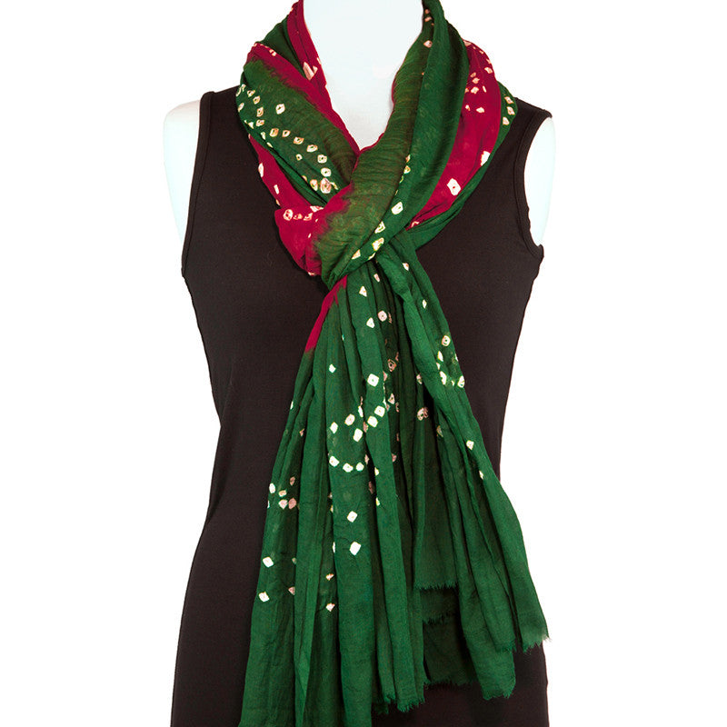 Cotton Bandhani Scarf or Sarong, Red and Green - Pallu Design