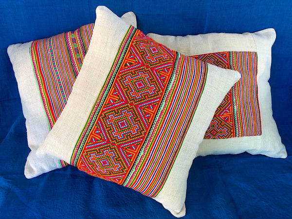 Hemp Cushion with Hmong Embroidered Braid Panel - Pallu Design