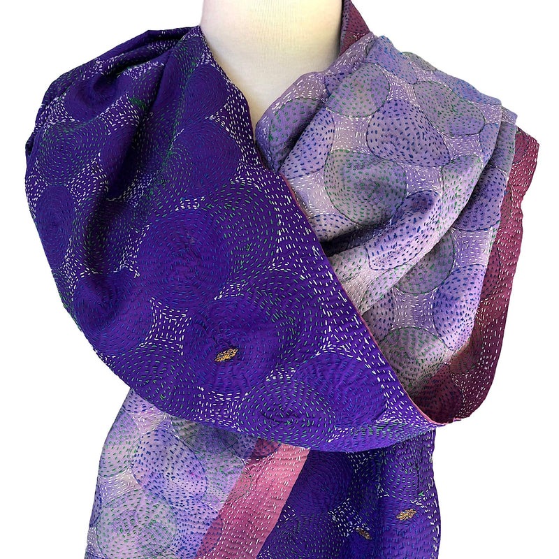 Purple Silk Sari Scarf or Wrap - Reversible - Pallu Design