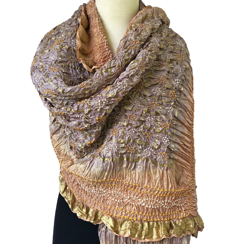Oversize Silk Bandhani Scarf - Silver and Gold with Border - Pallu Design