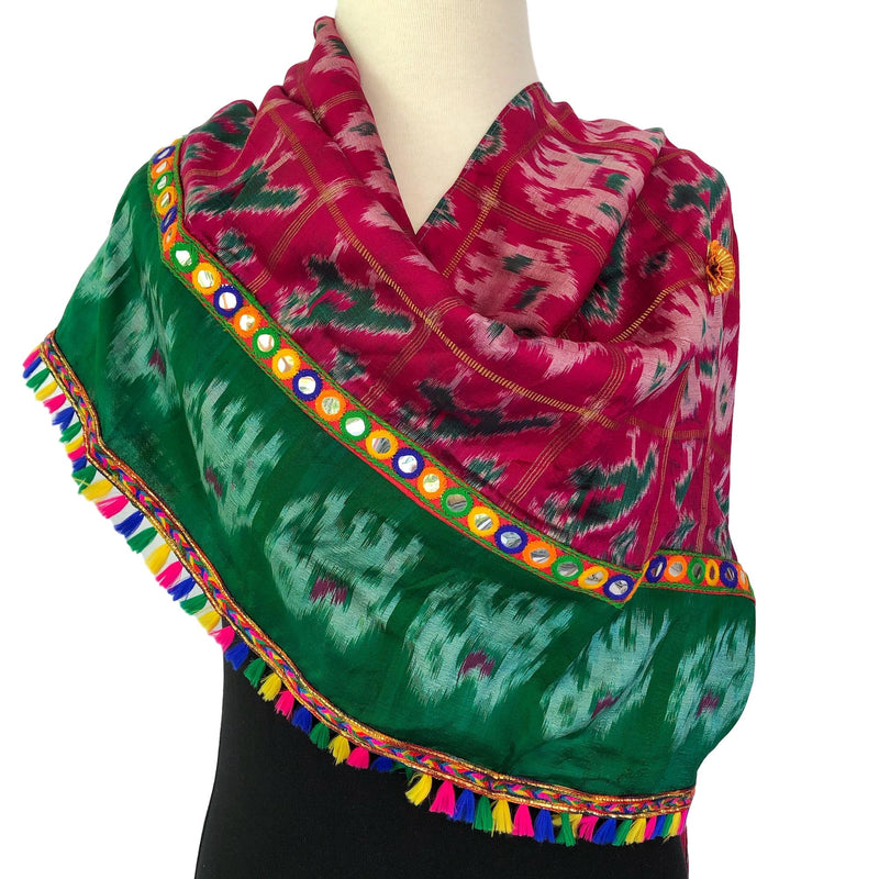 Long Silk Boho Scarf - Ikat with Braids - Pallu Design