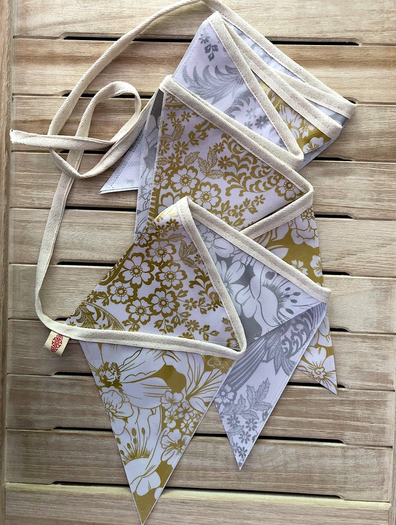 3 Mt Gold and Silver Wedding Bunting - Outdoor Garland - Pallu Design
