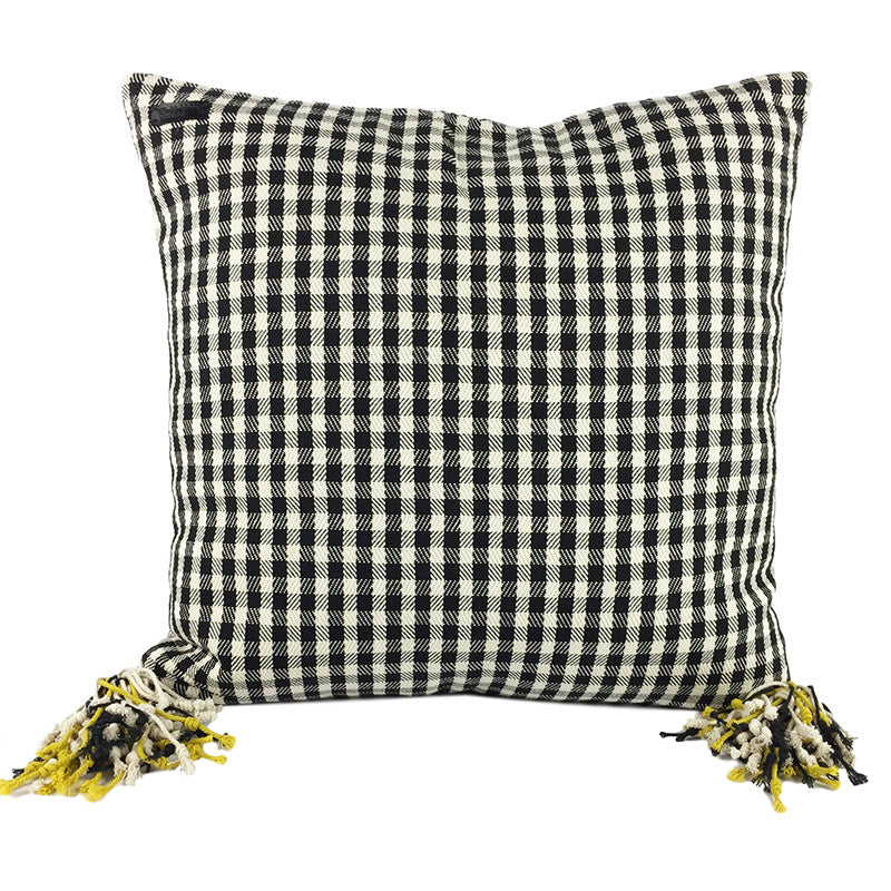Hand Loomed Square Cushion -  Black, Cream and Lime with Tassels - Pallu Design