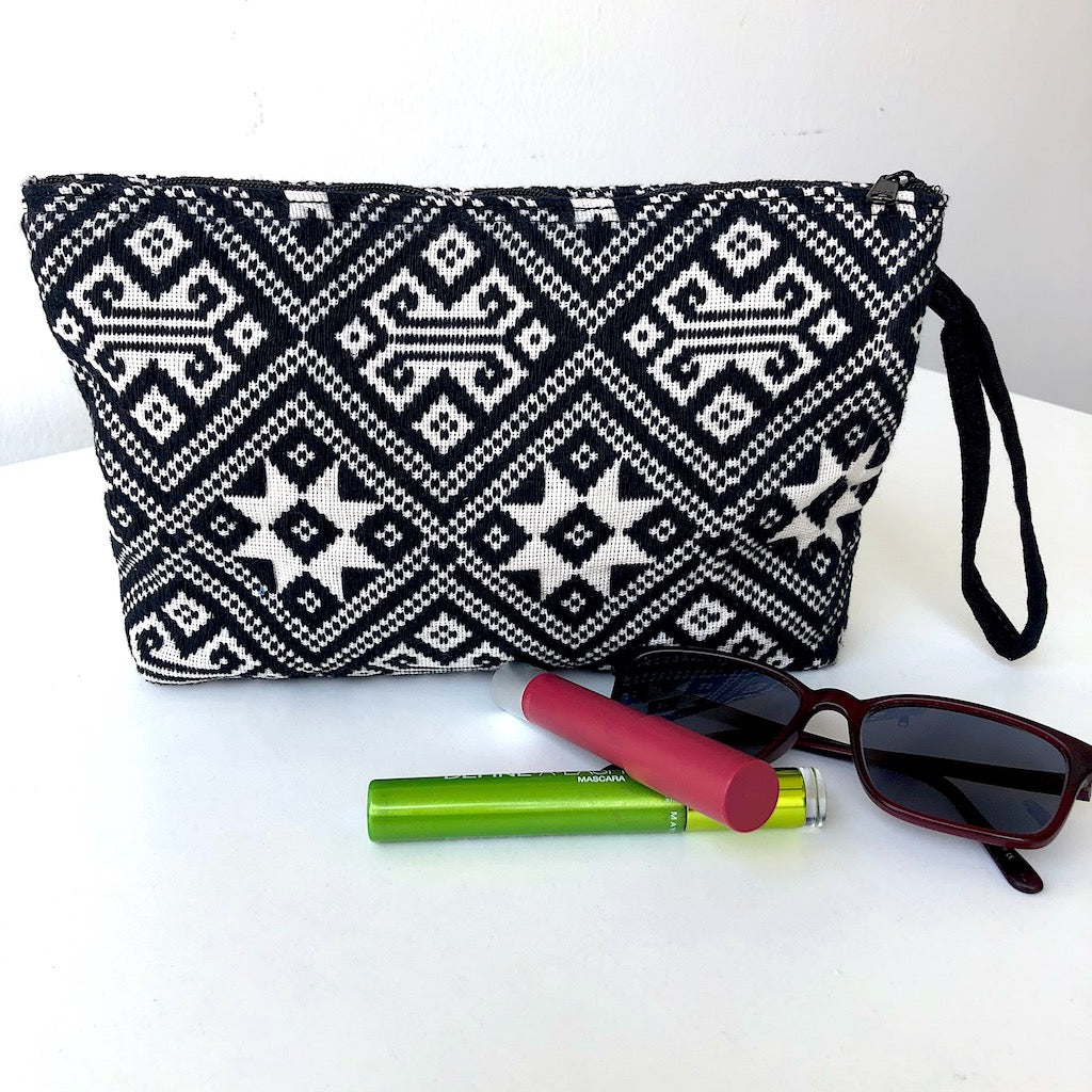 Large Black and White Clutch Bag - Handwoven Zip pouch - star - Pallu Design