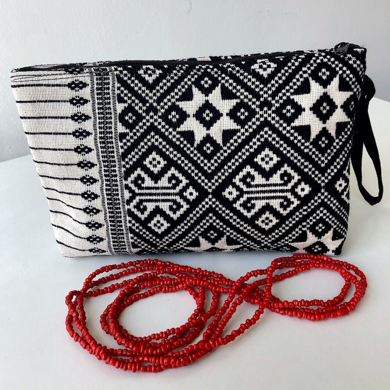 Black and White Clutch Bag - Handwoven Zip pouch in star design - Pallu Design