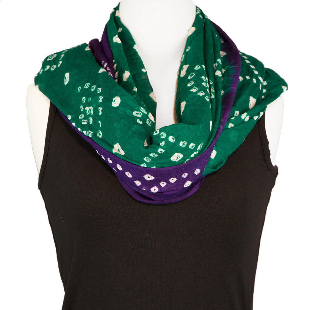 Tie Dye Scarf - Cotton Scarf or Beach Sarong - Green and Purple - Pallu Design