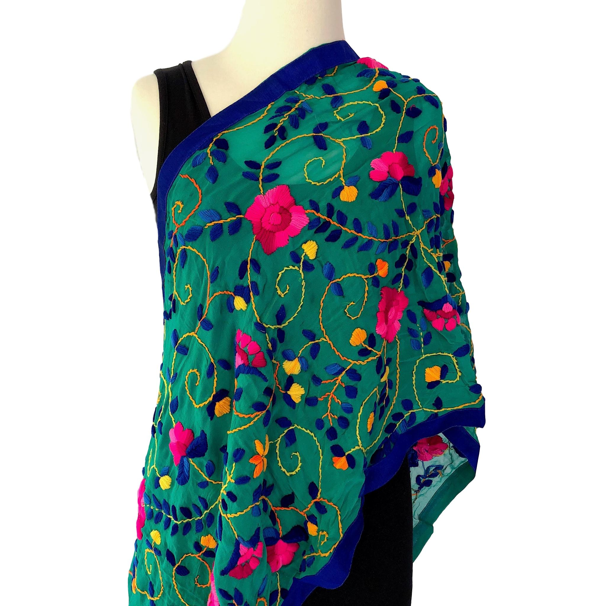 A Georgette Shawl with Flower Embroidery - Teal scarf - Pallu Design