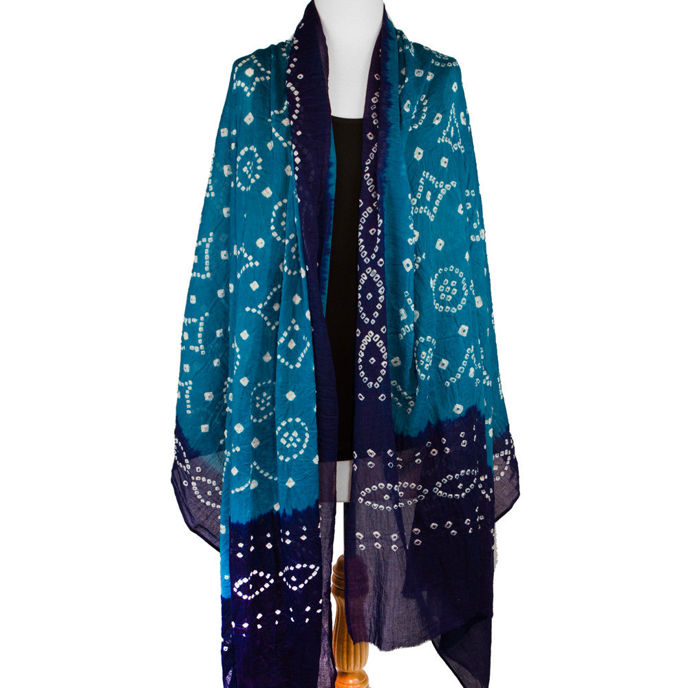 Cotton Tie Dye Scarf or Sarong, Blue with Purple - Pallu Design