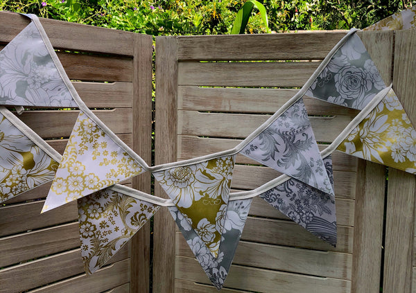 Gold and Silver Wedding Bunting - 12 Flags - Outdoor Garland - Pallu Design