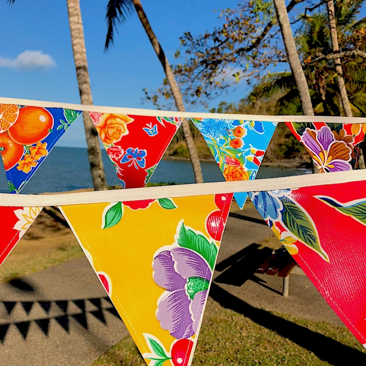 Bunting - Mexican Oilcloth Outdoor Flags - Pallu Design